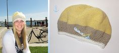 """hvide Häkelmütze """"Sonnenstrahl"""" ~ gelb beige weiß"""