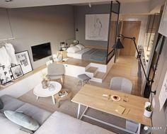 Egyszobás lakás rendkívül kreatív berendezése - játék a szintekkel, meleg, természetes fa felületek semleges alapban