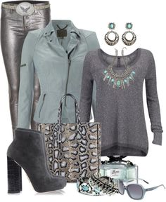 """Blue and Grey"" by queenranya ❤ liked on Polyvore"
