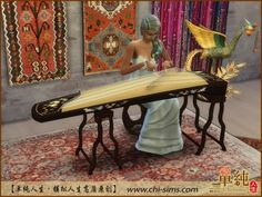 GuZheng Chinese musical instrument by Moirae at ChiSims via Sims 4 Updates