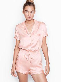 adf4eec2ff15 Satin Button-front Romper cute pajamas simple victoria s secret
