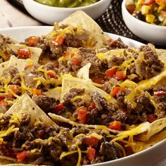 Nachos Grande Supreme Recipe This restaurant-quality appetizer is delicious and quick and easy to prepare. McCormick® Fajitas Seasoning Mix provides a nice citrus background, uniquely different from that of typical taco flavor. Mexican Food Recipes, Beef Recipes, Cooking Recipes, Ethnic Recipes, Nacho Recipes, Mexican Dishes, Recipies, Nacho Grande, How To Make Nachos