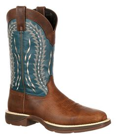 Brown & Navy Embroidered Rebel by Durango Leather Cowboy Boot - Men