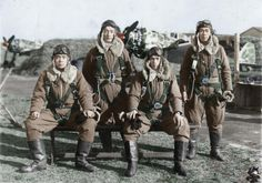 November 7, 1944, 244th squadron. Jaapanese fighter pilots. Lieutenant Toru Shinomiya captain, corporal Masao Itagaki, Sergeant Takeo Yoshida, Tadashi Abe corporal from the left. Lt. Toru Shinomiya, leader of the 244th Shinten-Tai out of Chofu airfield flying Kawasaki Ki-61's