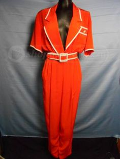 shopgoodwill.com: Vintage Tangerine and White Romper by Caron Sz 10