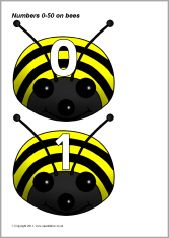 Numbers 0-50 on bees - bee bot beginning of year