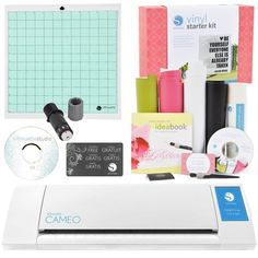 Silhouette Cameo Electronic Cutting Machine Vinyl Starter Kit Bundle This kit will allow you to create many projects right from the start! The Silhouette CAMEO Silhouette Cameo Vinyl, Craft Cutter, Thing 1, Silhouette America, Cricut Tutorials, Vinyl Cutter, Sewing Stores, Starter Kit, Starters