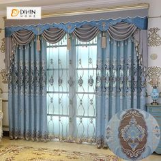 DIHIN HOME High Quality Blue Flowers Embroidered Valance ,Blackout Curtains Grommet Window Curtain for Living Room Panel