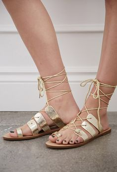 Crackled Metallic Lace-Up Sandals | Forever 21 - 2002247083