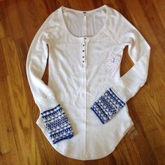 🌟Brand New Free People Thermalcuff L Top Brand New Free People Thermalcuff L ivory combo Free People Tops