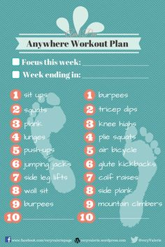free printable | Anywhere workout plan | weekly checklist | new years resolutions | fitness goal sheet | cardio strength abs exercises | plank, glute, squats, dips, burpees, lift, lunges, push ups, sit ups |