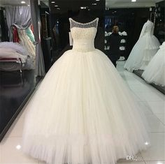 Bling Pearls Crystal Ball Gown Sheer Wedding Dresses 2017 Plus Size Ivory Ruched Tulle Corset Bridal Gowns Real Images Custom Made Discount Wedding Dress Exotic Wedding Dresses From Flodo, $131.38| Dhgate.Com