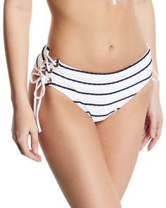 Heidi Klein Striped Lace-Up Hipster Bikini Swim Bottoms Bandeau Bikini, Bikini Tops, Heidi Klein, Triangle Bikini Top, Swim Bottoms, Bikinis, Swimwear, Beachwear, Hipster