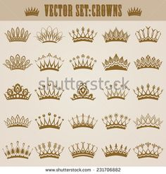 Set of decorative victorian gold crowns for design. In vintage style. Vector illustration.