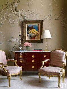 A painting by Edgar Degas is set against a hand-painted wall covering by de Gournay in the master bedroom of a Manhattan apartment by Michael S. Smith and Peter Pennoyer Architects | archdigest.com