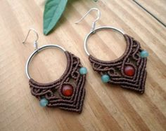 Micro macrame earrings with Tigers eye and Malachite beads.  We used high quality waxed thread in a khaki color. Waxed thread is ideal for creating