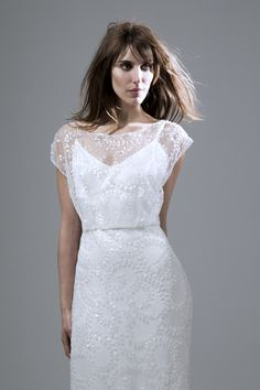 fd3e52f7 Lydia sequin ivory slash neck dress with puddle train wedding dress by  Halfpenny London Dresses Uk