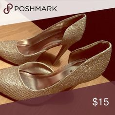 Champagne sparkly heels Super sparkly, great for a night out! These would look good with anything. Shoes Heels