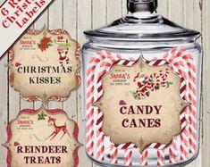 RETRO CHRISTMAS Jar LABELS - , Christmas Treat Bag Labels, Holiday Gift Labels, Christmas Gift Tags, Jar Tags,  Instant Download