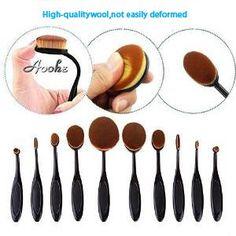Aoohe 10 Pcs Soft Oval Kabuki Pro Toothbrush Makeup Brush Sets Foundation Brushes Cream Contour Powder Blush Concealer Brush ** Want additional info? Click on the image. (Note:Amazon affiliate link)