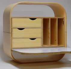 Desk, wall mounted mail sorting cabinet.