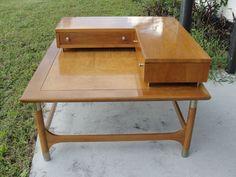 Vintage Mid Century Modern Teak Weiman Heirloom Furniture Corner Table 2 Drawers #Weiman