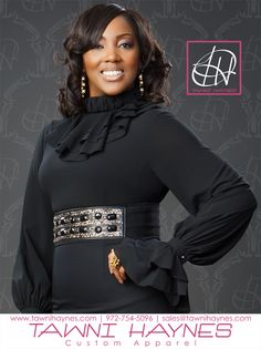 Tawni Haynes Custom Made Tiered Georgette Blouse with custom Accessories.. Tawni 972-754-5096.  Shop online @ www.shop.tawnihaynes.com/products/tiered-georgette-blouse  LIKE us on Facebook @ www.facebook.com/TawniHaynesCustomApparel