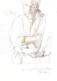 Guido Michl, Alter Mann und Mädchenfuß, Graphit / Buntstift auf Papier, 29,7 x 21 cm, 2007, 250 €