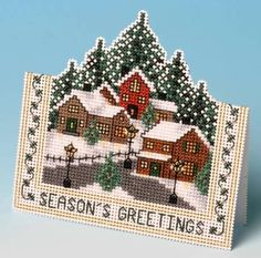image of Christmas Village Card 3D Cross Stitch Kit