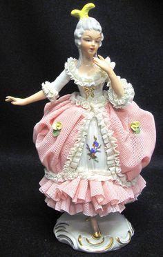 Vintage DRESDEN German Tall Porcelain Lady Figurine Victorian LACE Dress Crown N #Dresden
