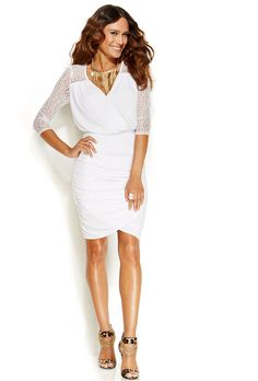 Thalia Sodi Lace-Sleeve Faux-Wrap Dress