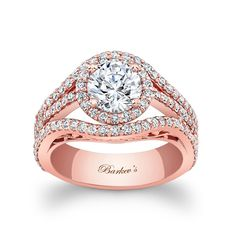 Rose Gold Engagement Ring - 7941LPW - This unique,  diamond halo engagement ring features a prong set round diamond center encircled with diamonds.  The rose gold split shank features shared prong set diamonds framing the halo for a stunning contemporary flair.   Also available in yellow, white gold, 18k and Platinum.