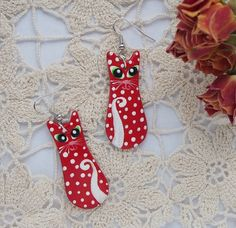 Red cat  ceramics earrings by FullOfFunJewelry on Etsy