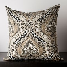 Safari Tan Damask Square 18  x  18 Indoor/Outdoor Pillow - Surya - $35.00-Home Decor Ideas-Concept Candie Interiors-