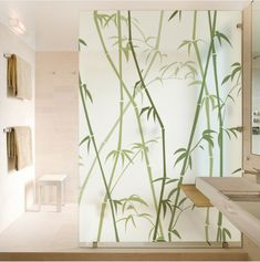 DICOR Nordic Static Cling Film Window Stickers Frosted Vinyl Stained Glass Sticker Bamboo Green Decorative Films No Glue Frosted Glass Design, Trundle Bed With Storage, Stained Glass Window Film, Window Screens, Window Stickers, Ceiling Design, Beautiful Space, Vinyl, Glass Door