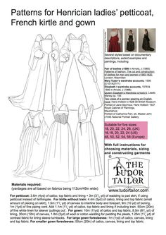 Women's Patterns - Pattern for Henrician Lady's Petticoat, French Kirtle and Gown -The Tudor Tailor
