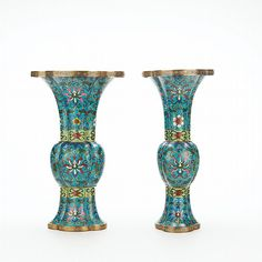 Pair of Chinese Cloisonne Enamel Vases - by Doyle New York #asiaweek