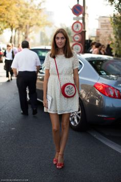 White dress. Red shoes.