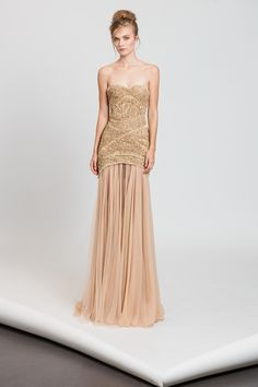 Tony Ward RTW SS17 I Style 52 I Gold strapless dress with fully embroidered bodice and detachable skirt