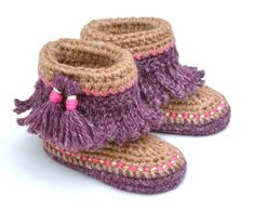 79290593edd19 CROCHET PATTERN Baby Moccasin Booties with Tassels and Fringe Instructions  for 3 Sizes Photo Tutorial Digital File Instant Download. Chausson ...