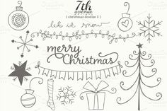 I just released Christmas Doodles 3 on Creative Market.