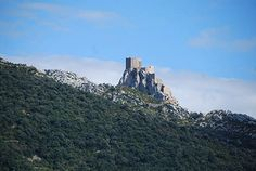 Château de Quéribus, a half-ruined medieval Cathar castle on the territory of the commune of Cucugnan (Corbières, France). Mentioned in 1020, it was part of the County of Besalù, then of Barcelona and was later held as a royal fortress by the house of Aragon in 1162. After the surrender of Pierre de Cucugnan (c. 1240) to Louis IX, this Cathar stronghold would still resist. It finally fell in 1255, 11 years after Montségur.