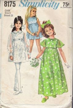 Late 60s FLOWER GIRL DRESS Sewing Pattern Size 6 Breast 25 Simplicity 8175 Long or Mini