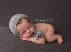 knitted elephant // newborn Photo props