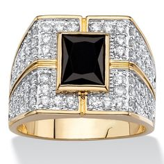 Jewelry Cubic Zirconia Palm Beach Jewelry Two-Tone Goldplated Men's Black and White Cubic Zirconia Grid Ring Yellow - Palm Beach Jewelry, Bridesmaid Jewelry Sets, Modern Jewelry, Sterling Silver Jewelry, Fashion Jewelry, Men's Jewelry, Rings For Men, Engagement Rings, Jewels
