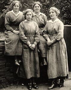 Practical: Munitionettes such as these ones embraced a looser, more practical style and sh...