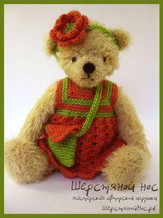 "Мишка в кораловом платье. Коллекция ""Модницы"" #teddybears #handmade #toys #teddybears #presents #knitting"