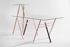 Higher desk - Standing desk : cork, lathed oak, laquered steel