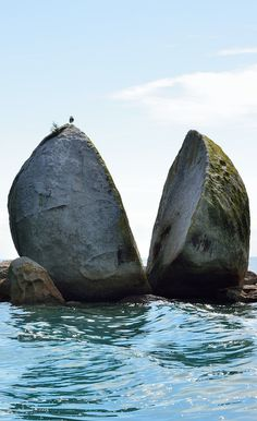 Split Apple Rock, (Kaiteriteri,  S Island, NZ)  is a geological rock formation in the Tasman Bay made of granite. The cleft to produce 2 sides of the \'apple\' was a natural occurrence. It is unknown when this happened & the cleaving of the rock has attracted mythological explanations
