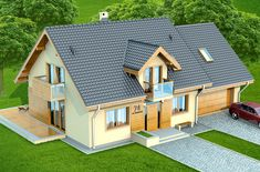 Wizualizacja DN KENDRA 2M CE Home Fashion, Shed, Outdoor Structures, Cabin, House Styles, Design, Home Decor, Home Plans, Cottage